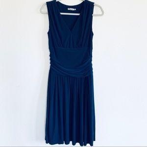 Eliza J Navy Sleeveless Wrap Ruched Formal Dress